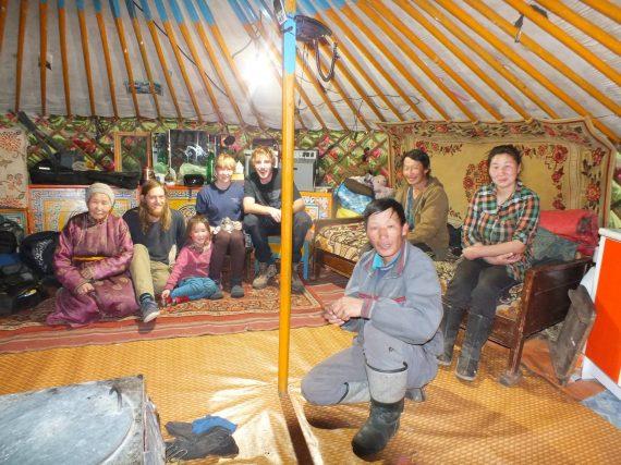 Inside yurt with nomadic family